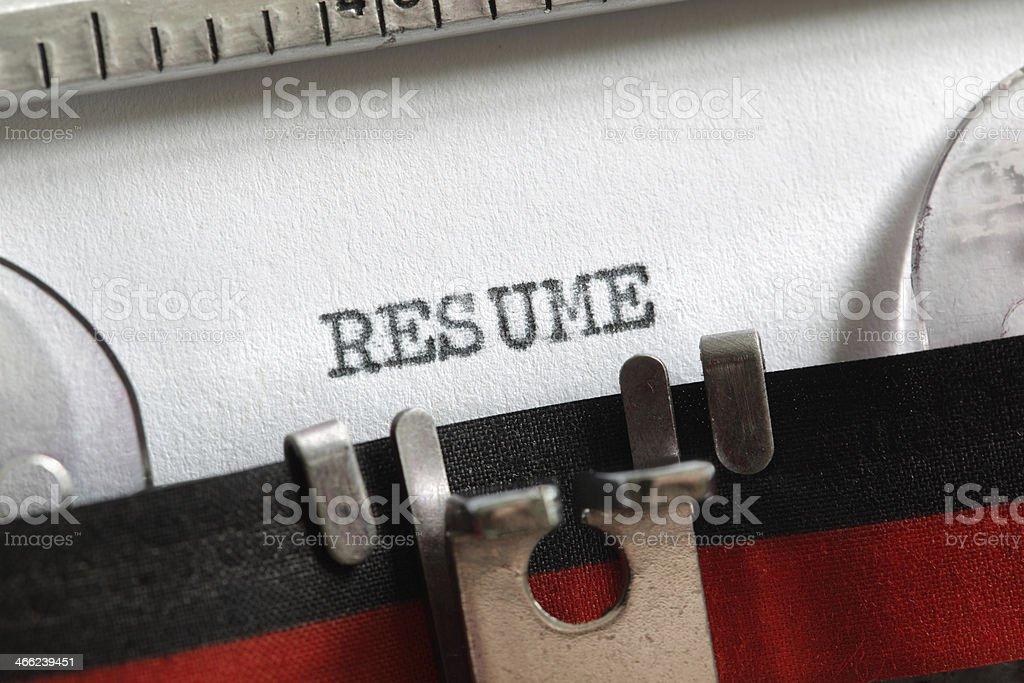 Resume written on old typewriter royalty-free stock photo