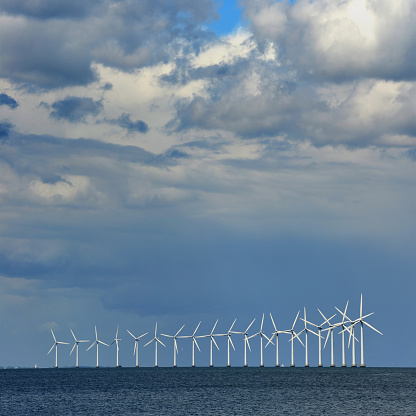 Middelgrunden Wind Turbine Offshore Wind Park on a sunny day in Denmark