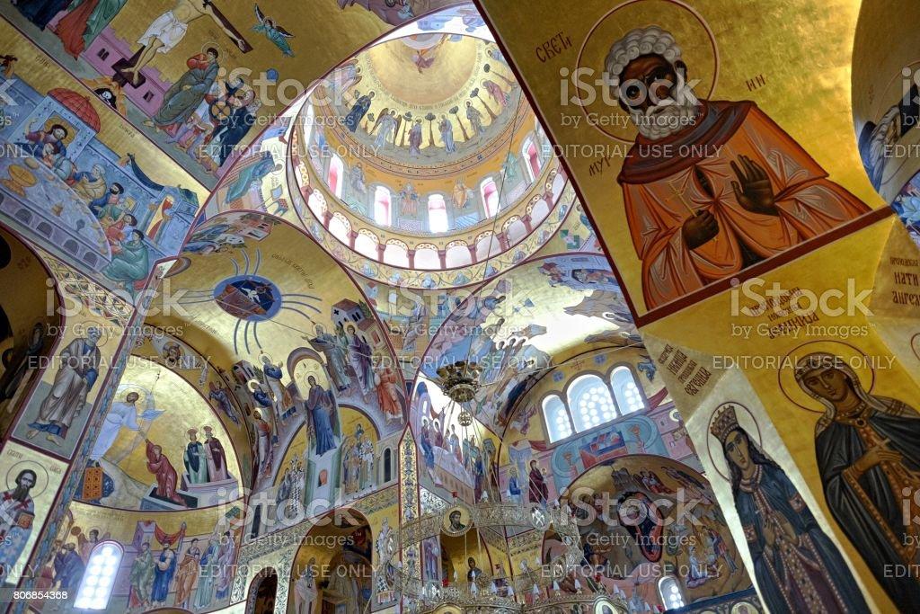 Resurrection Cathedral interior In Podgorica, Montenegro stock photo