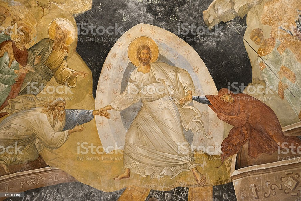 Resurrection Fresco in Chora Church, Istanbul stock photo