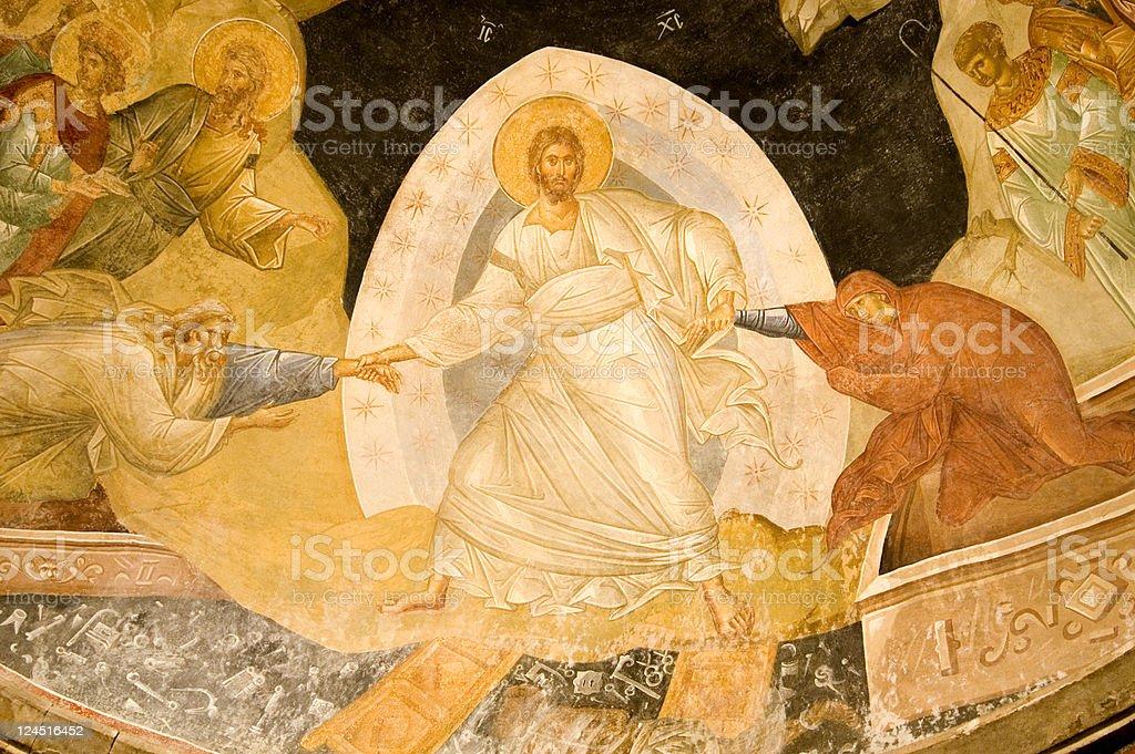 Resurrection fresco in Chora Church Istanbul Turkey stock photo
