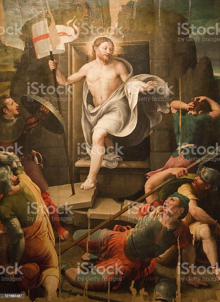 Resurrection, fresco in the Sansepolcro Cathedral stock photo