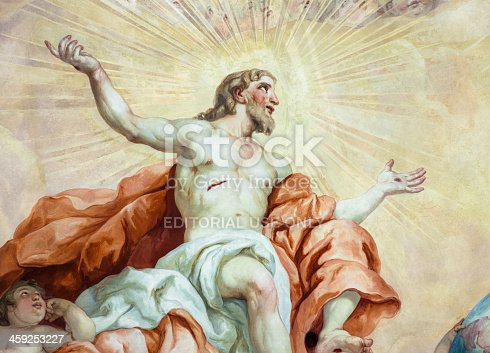 Vienna, Austria - January 9, 2012: Detail of a painted representation of the resurrection of Jesus Christ, part of the 18th Century fresco on the interior of the main dome of Karlskirche (St. Charles's Church) in Vienna. The fresco was painted by Johann Michael Rottmayr and Gaetano Fanti.