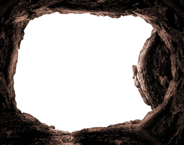 Resurrection of Jesus Christ concept Empty tomb stone isolated on white background tomb stock pictures, royalty-free photos & images