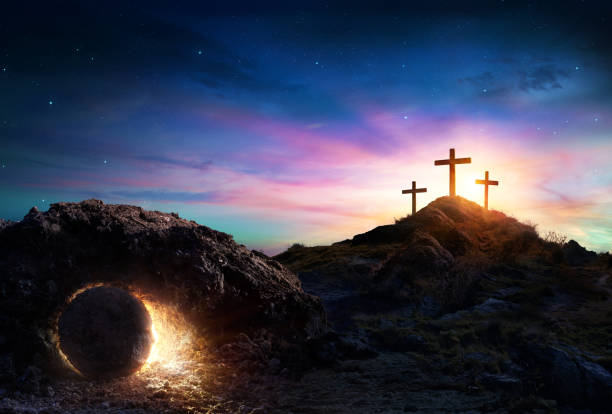 Resurrection - Tomb Empty With Crucifixion At Sunrise Crosses And Empty Tomb of Jesus Christ easter stock pictures, royalty-free photos & images