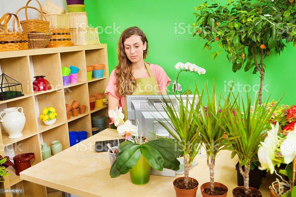 Retail Cashier Worker Behind Flower Shop Garden Center Counter Stock ...