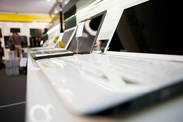 Retail laptops stock photo