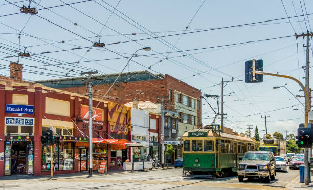 Retail outlets at intersection of  Carlisle and Chapel in St. Kilda, Melbourne, Australia. stock photo