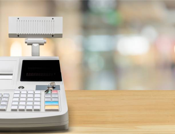 Retail. Cash register with LCD display on background cash register stock pictures, royalty-free photos & images