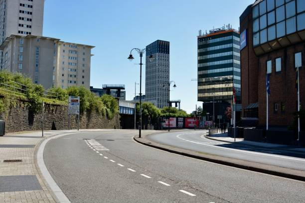 CARDIFF / WALES  Retail sector continues in lockdown over sunny bank holiday stock photo