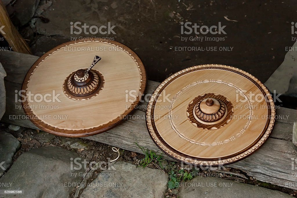 Retail shop in workshop for wooden hand-made souvenir, Etar stock photo