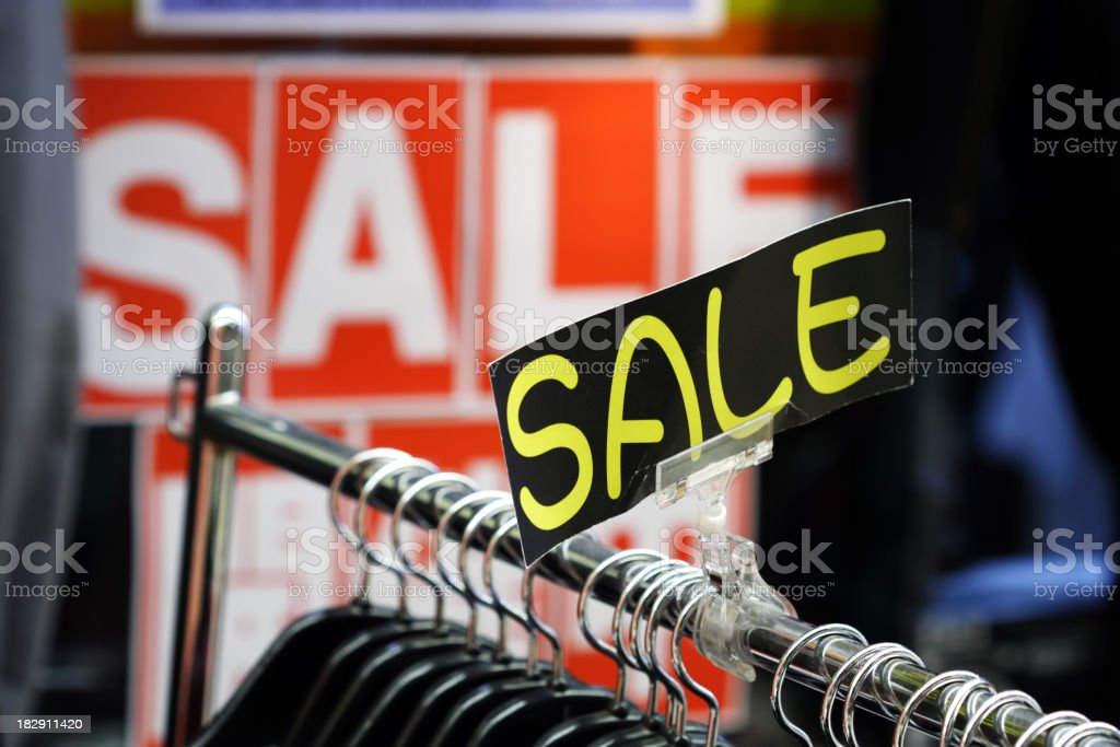 Retail Shopping Sale - Clothing in Fashion Store stock photo