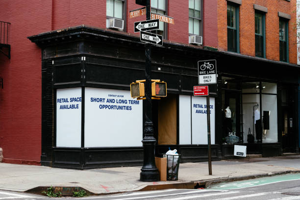 Retail space available for lease in New York stock photo
