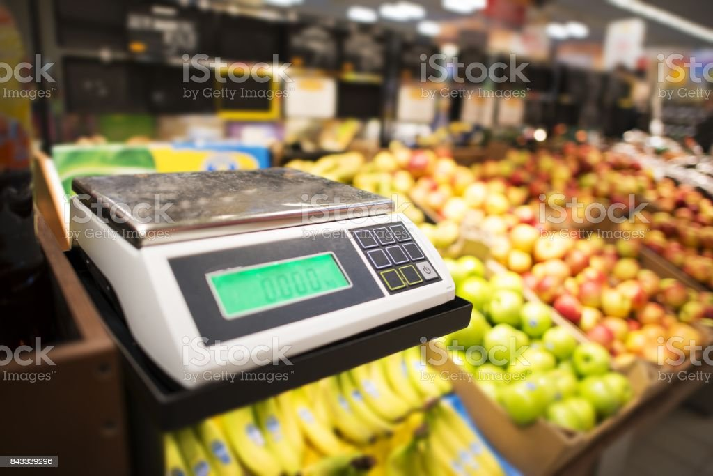 Retail Store Fruits Weighing stock photo