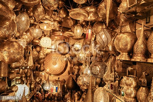 Lots of traditional Moroccan bronze lamps in Marrakech. Old town of Marrakech (Medina).