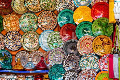 Moroccan colourful porcelain and ceramic plates. Medina of Marrakech.