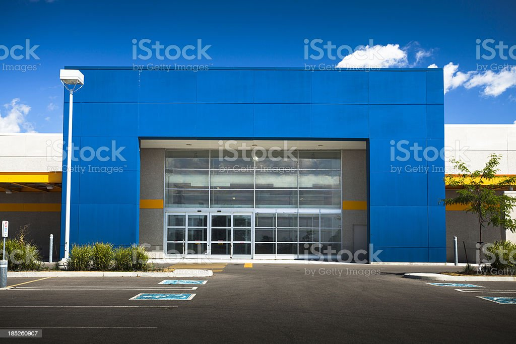 Retail store with blank sign stock photo