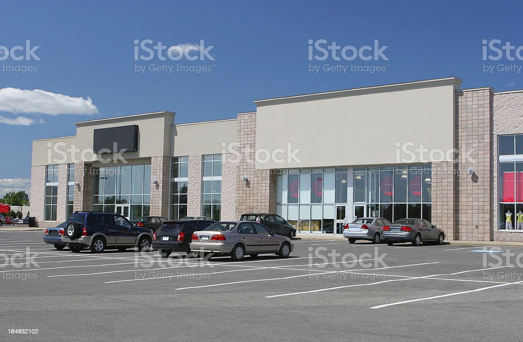 Retail Stores and Parking stock photo