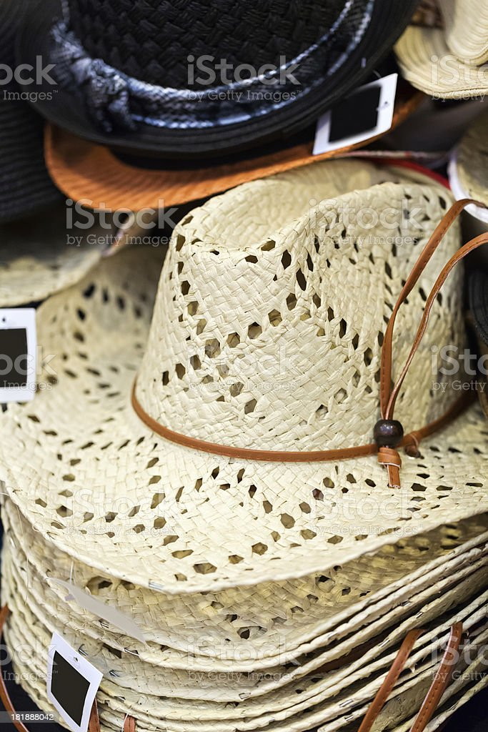 Retail Table of cowboy hats being sold royalty-free stock photo