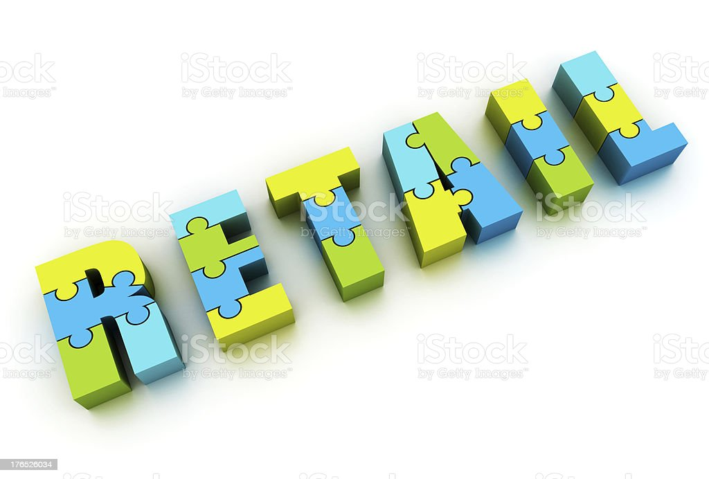 Retail word made of puzzle royalty-free stock photo