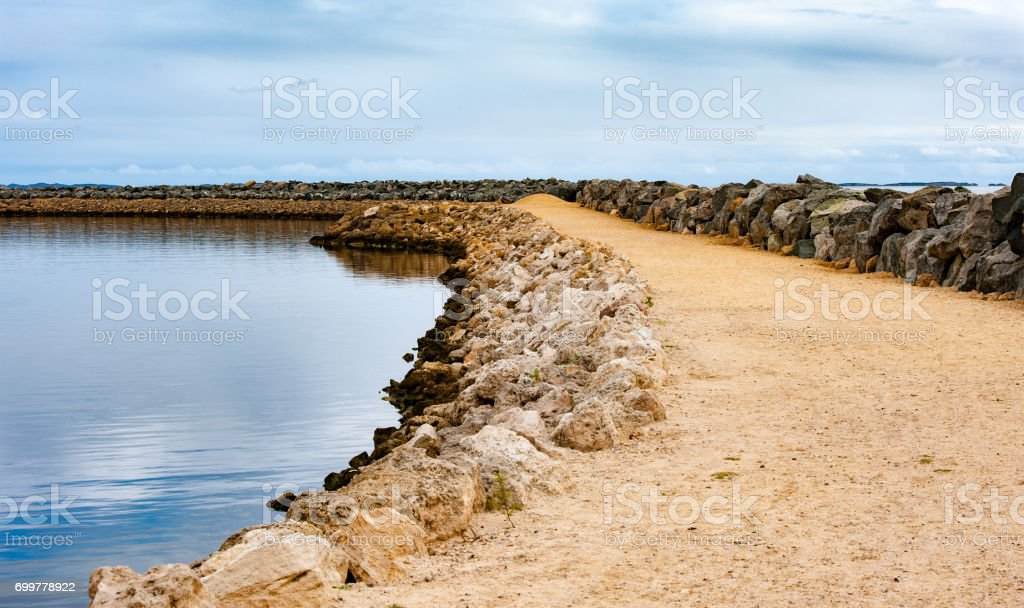 Retaining harbour wall stock photo