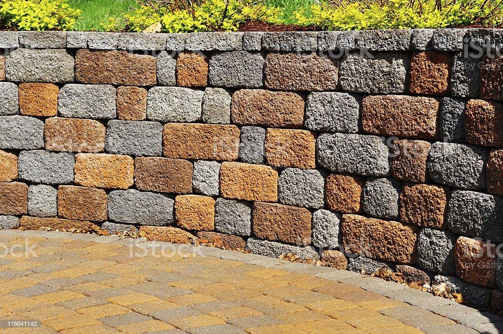 Retaining wall and patio royalty-free stock photo
