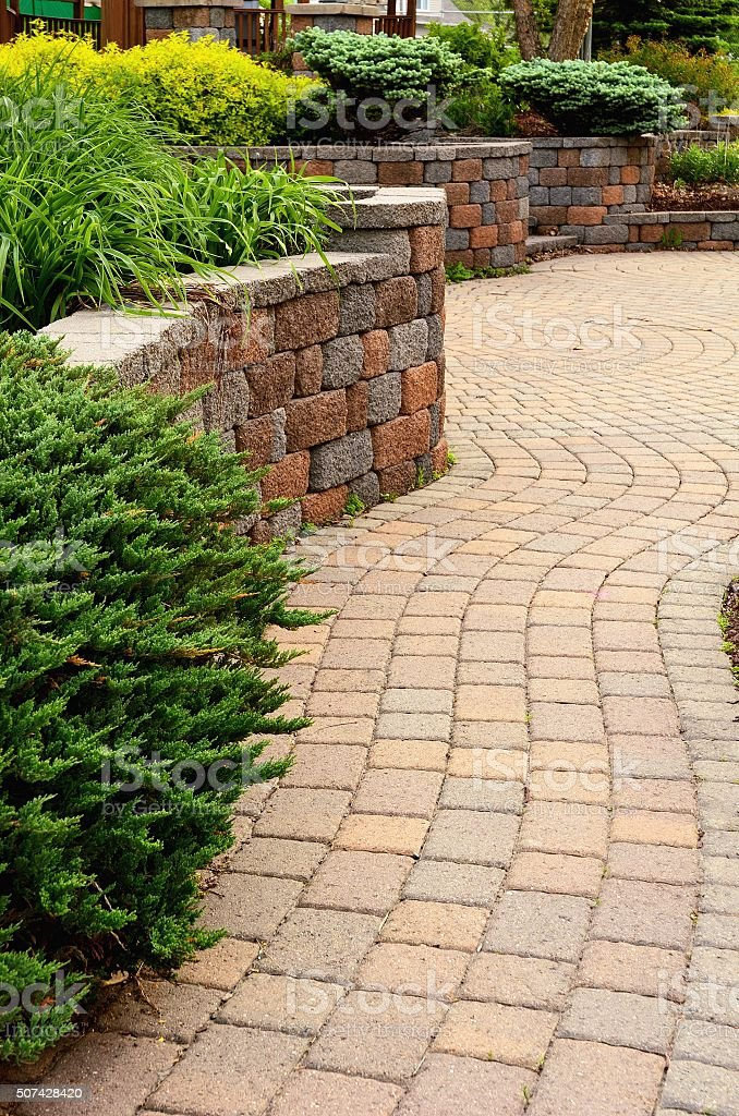 Retaining Wall and Patio stock photo