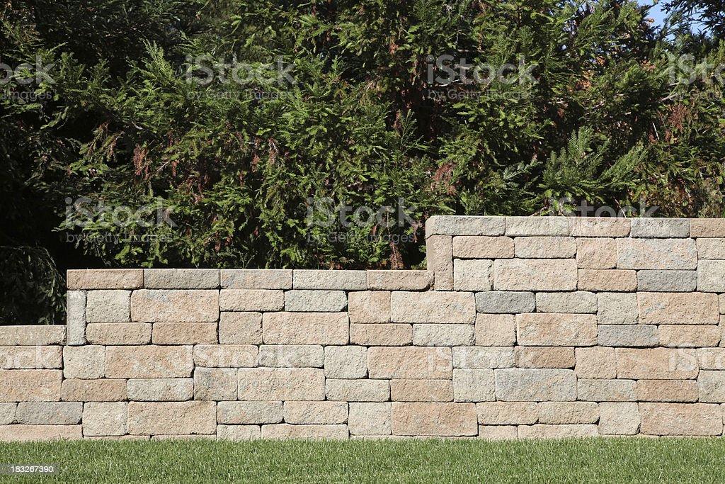 Retaining Wall with Brick Blocks royalty-free stock photo