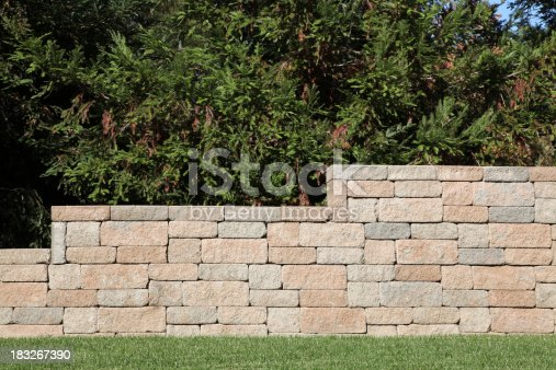 Retaining Wall with Brick Blocks