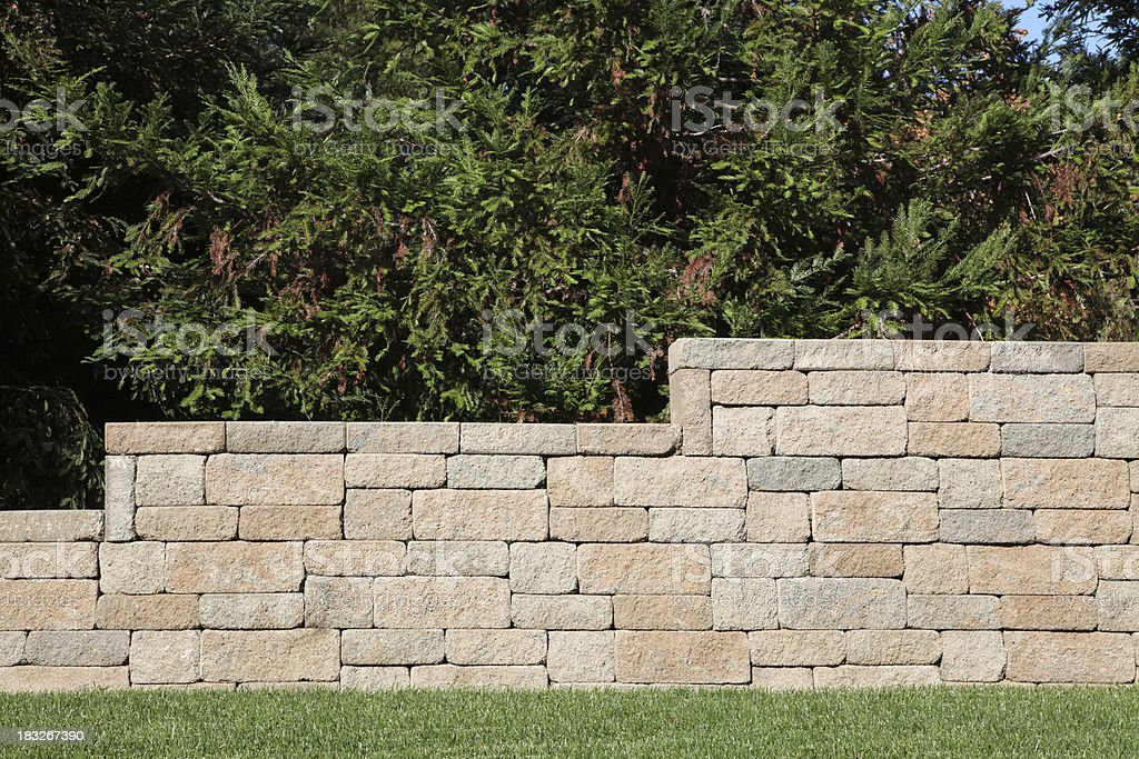 Retaining Wall with Brick Blocks stock photo