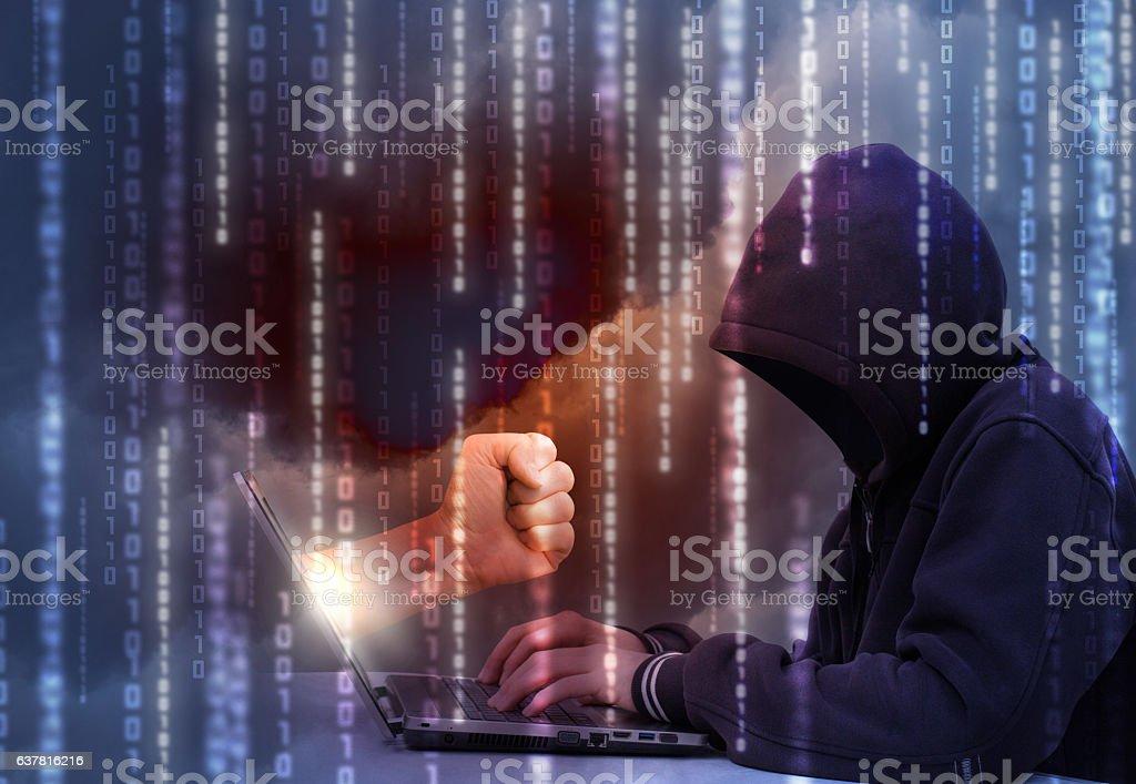 Retaliation for a hacker attack. - foto de acervo