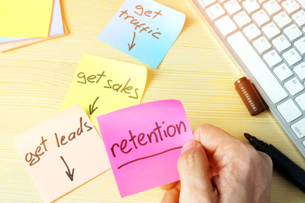retention in digital marketing. sales funnel concept. - sales funnel stock photos and pictures
