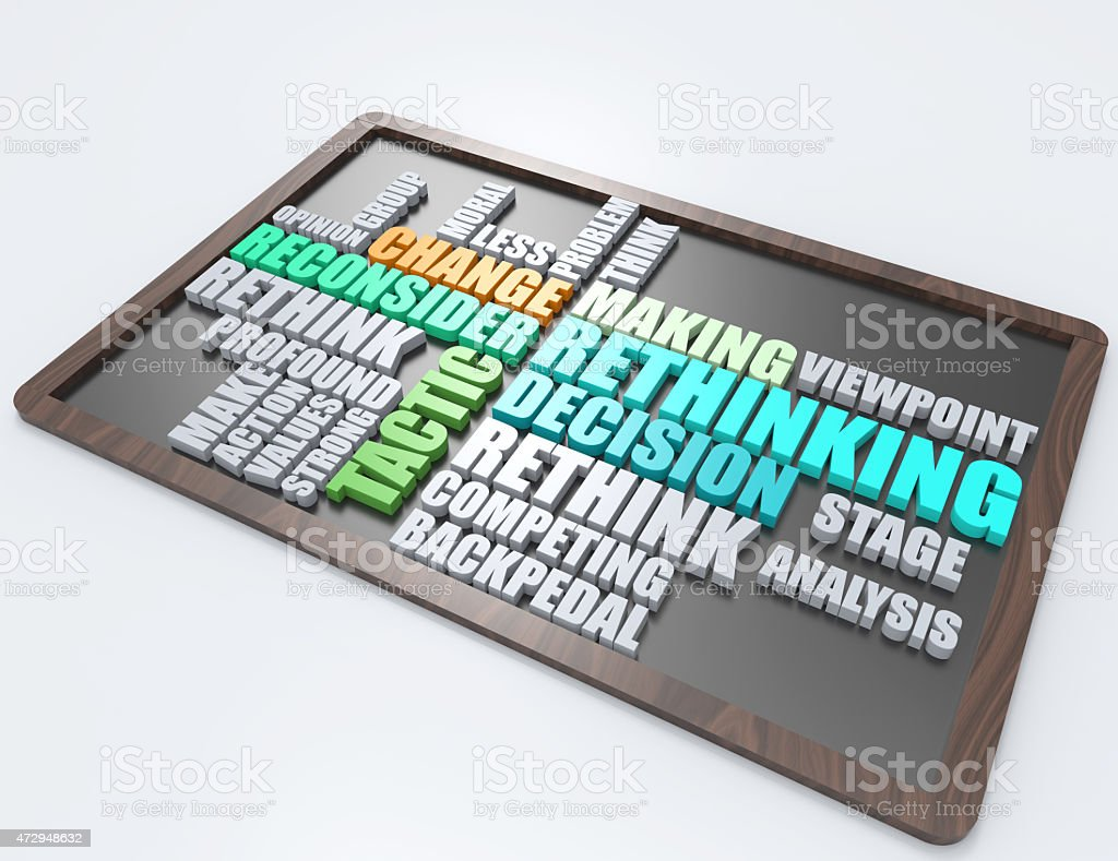 Rethinking,tactic 3d word concept stock photo