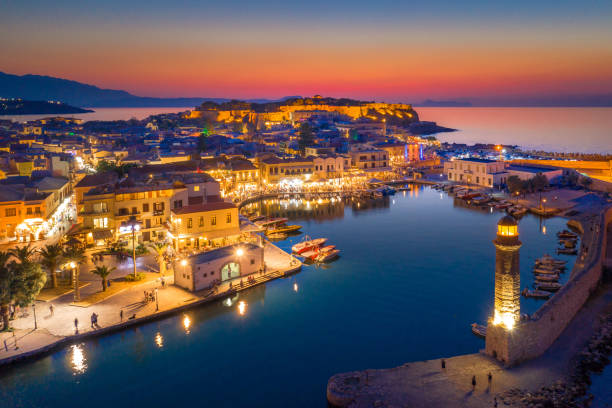 Rethymno city at Crete island in Greece. Aerial view of the old venetian harbor. stock photo