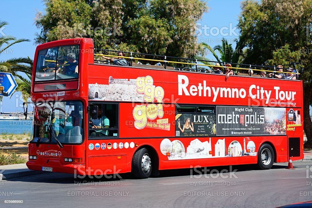 Rethymno City Tour Bus, Crete. stock photo