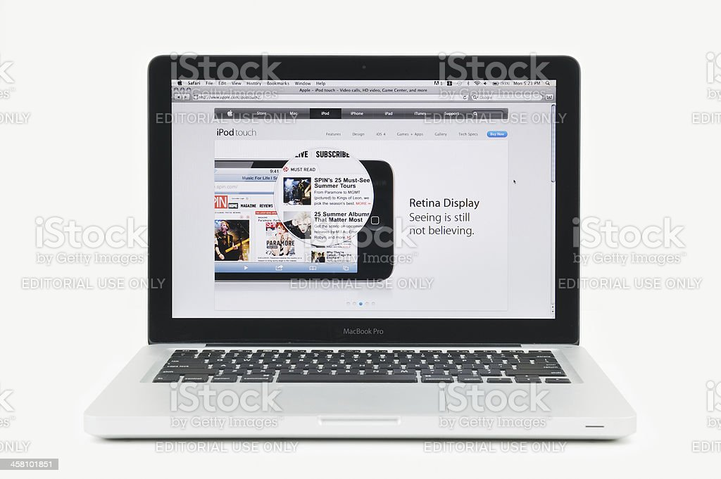 Retina Display for iPhone Four Featured on MacBook Pro stock photo