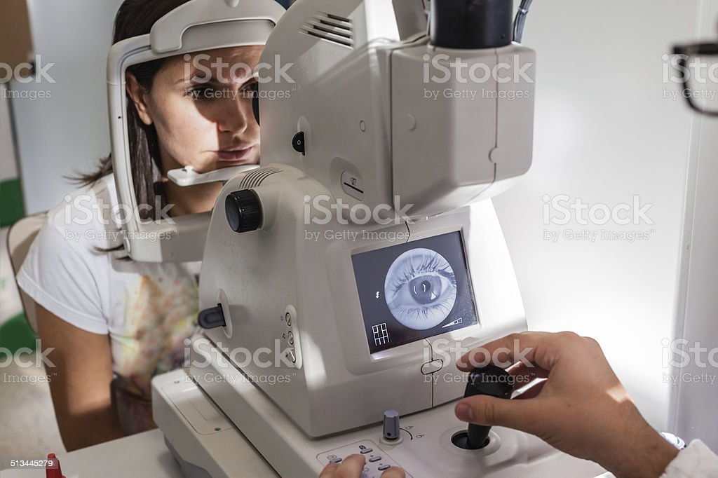 Retinal exam stock photo
