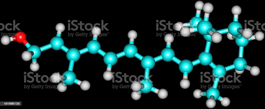Retinol (Vitamin A) molecular structure on black stock photo
