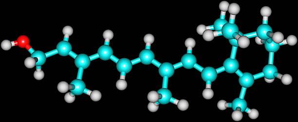 Retinol (witamina A) Budowa molekularna na czarnym – zdjęcie