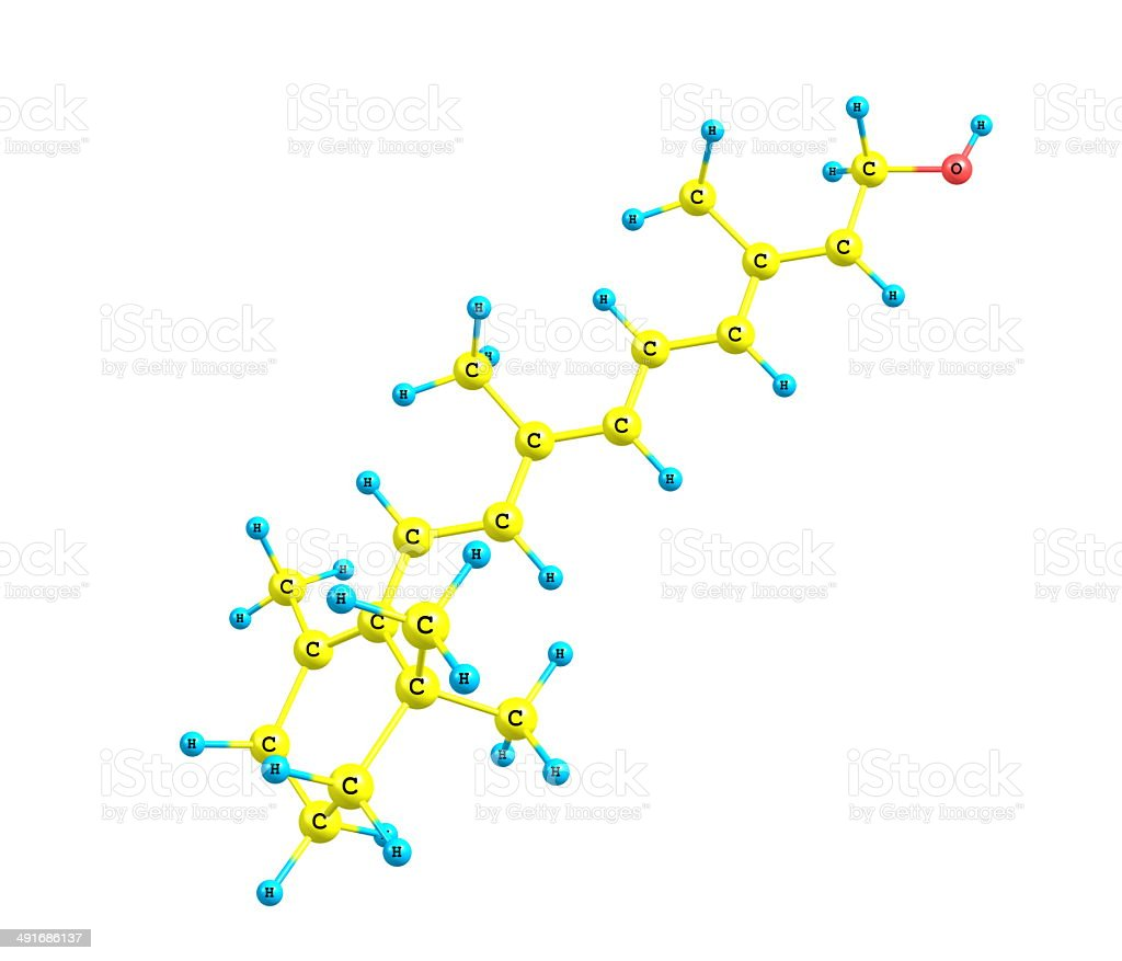 Retinol (Vitamin A) molecular structure on white stock photo