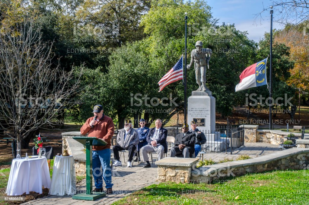 Retired Air Force Officer Delivers Keynote Speech at a Veteran's Day Cermony stock photo