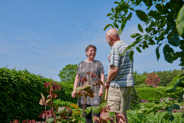 Retired couple discuss the gardening plans stock photo