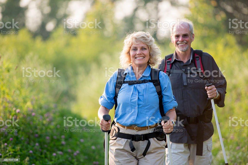 Retired Couple Gone Hiking stock photo