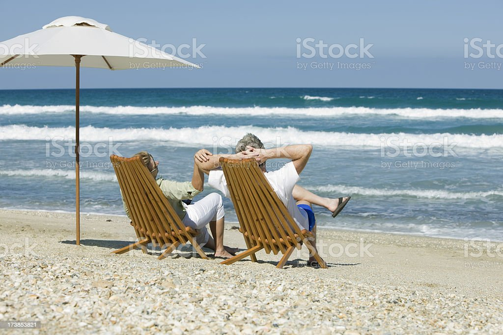 retired couple in chairs royalty-free stock photo