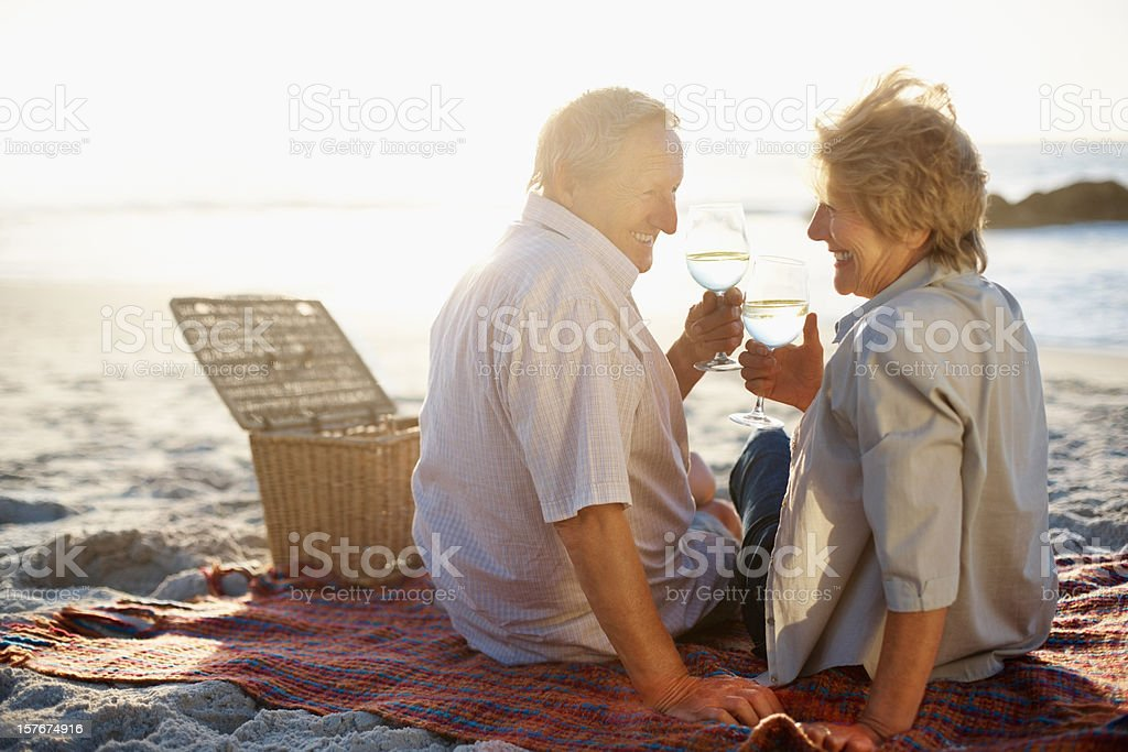 Retired couple on a beach picnic, toasting with wine royalty-free stock photo