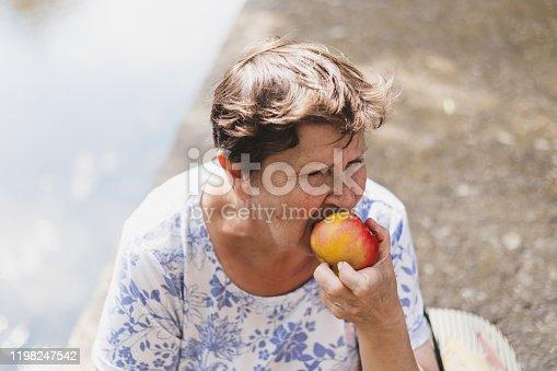 104545719istockphoto Retired elderly woman biting from an apple 1198247542