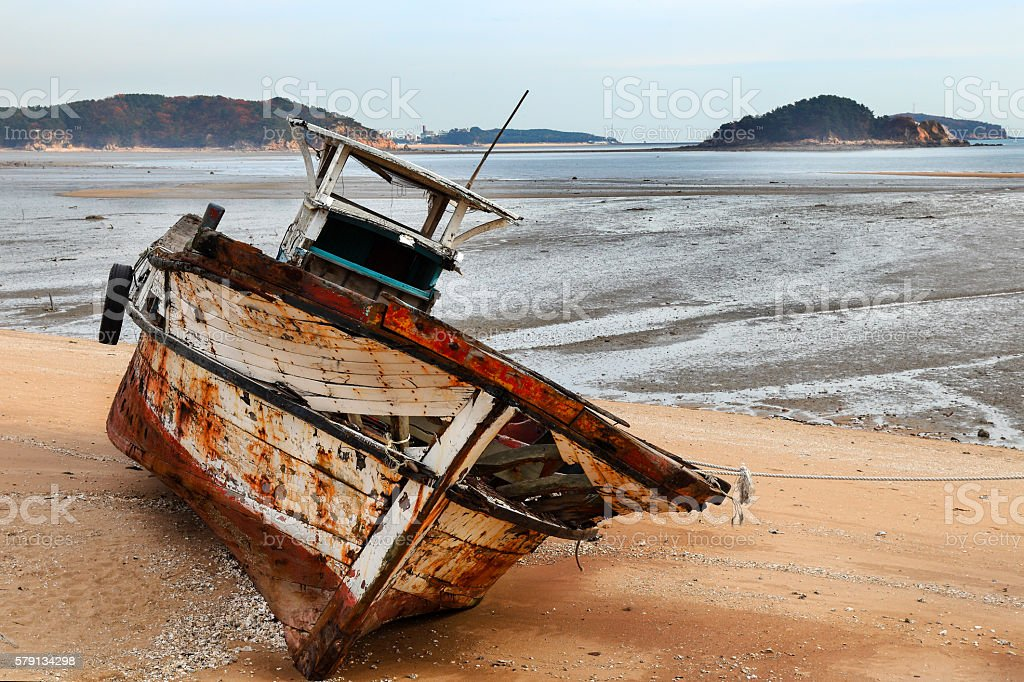 retired fishing boat stock photo