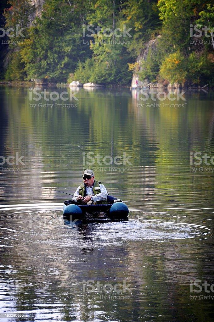 Retired Man Fly Fishing stock photo