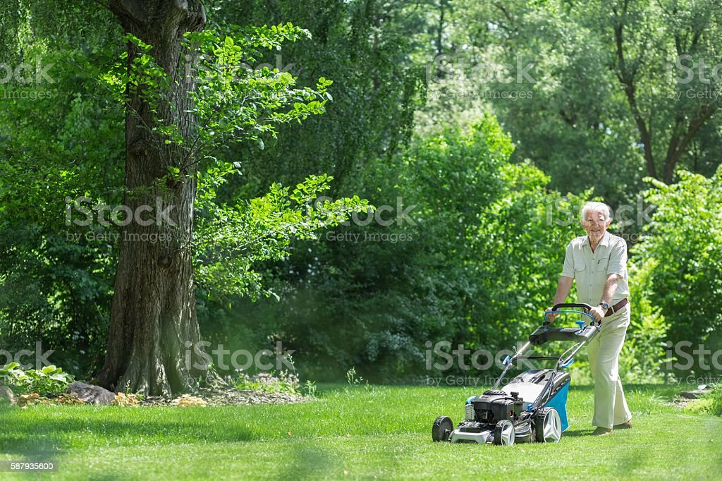 Retired man mowing the grass stock photo