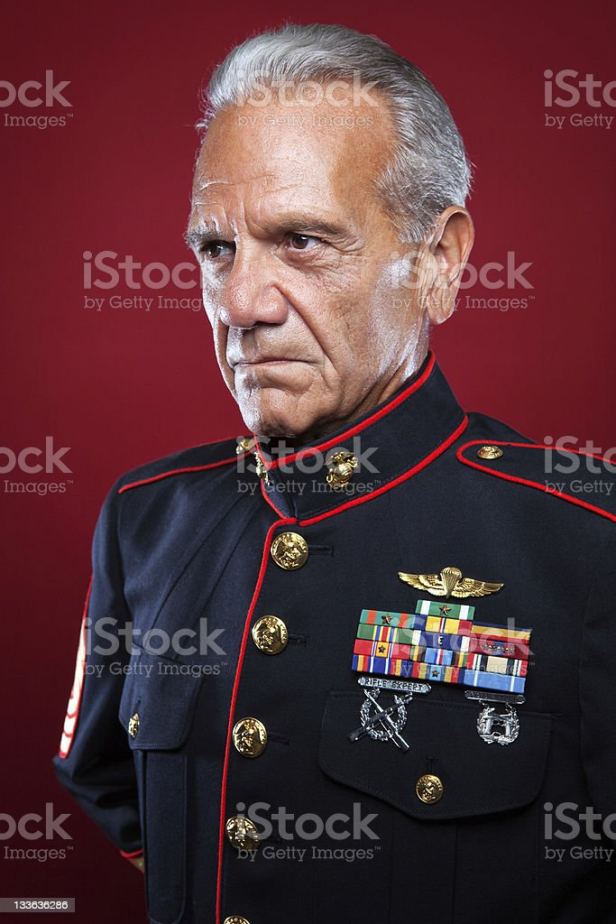 Retired Marine in Uniform stock photo